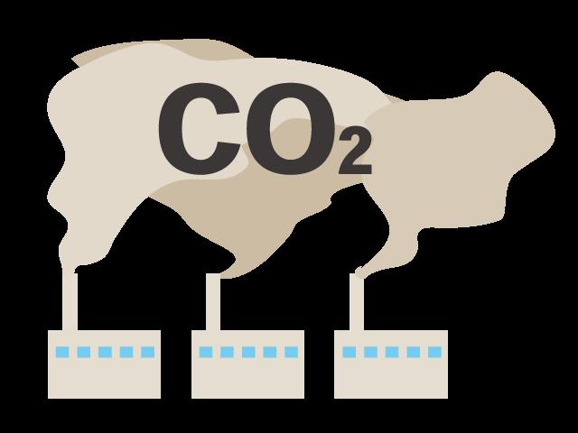 温室効果ガス二酸化炭素が排出されるイメージ